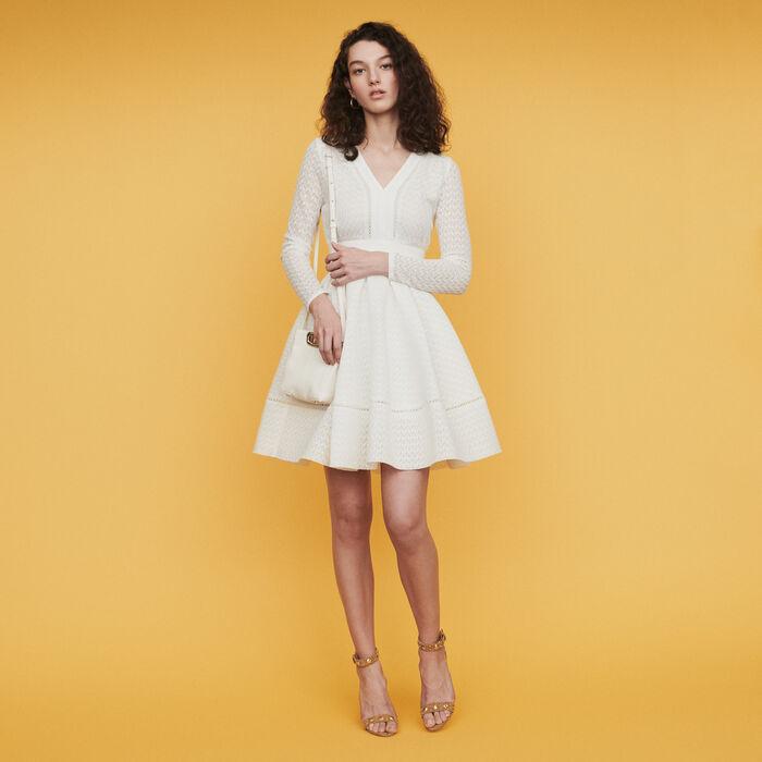 Vestido patinadora en encaje : Vestidos color Blanco