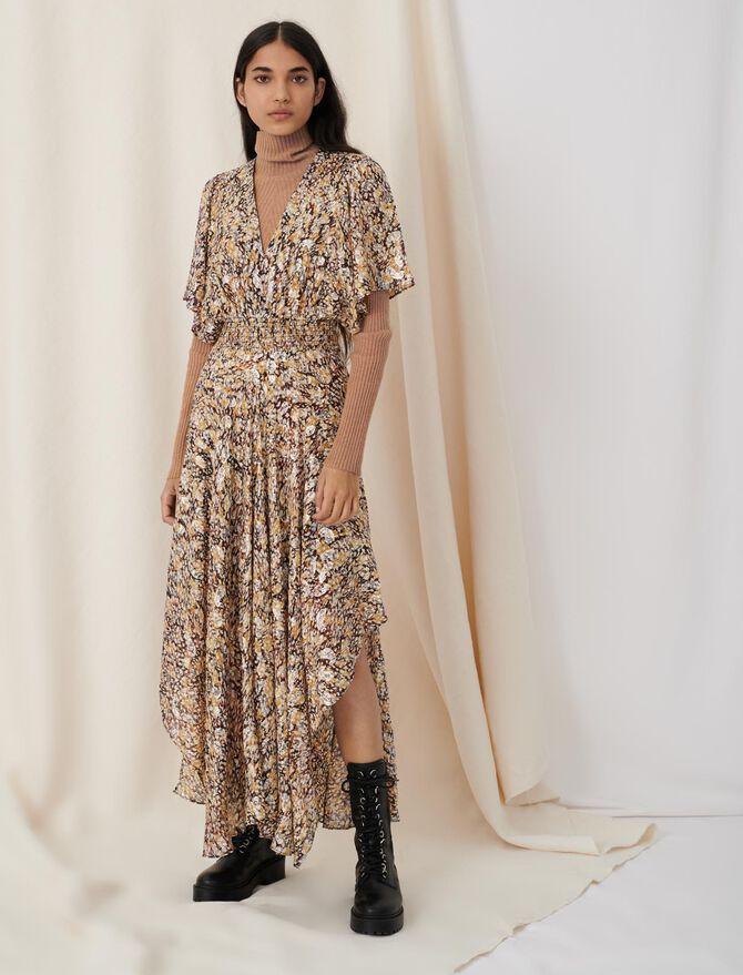 Vestido fruncido de jacquard lúrex - Nueva colección - MAJE
