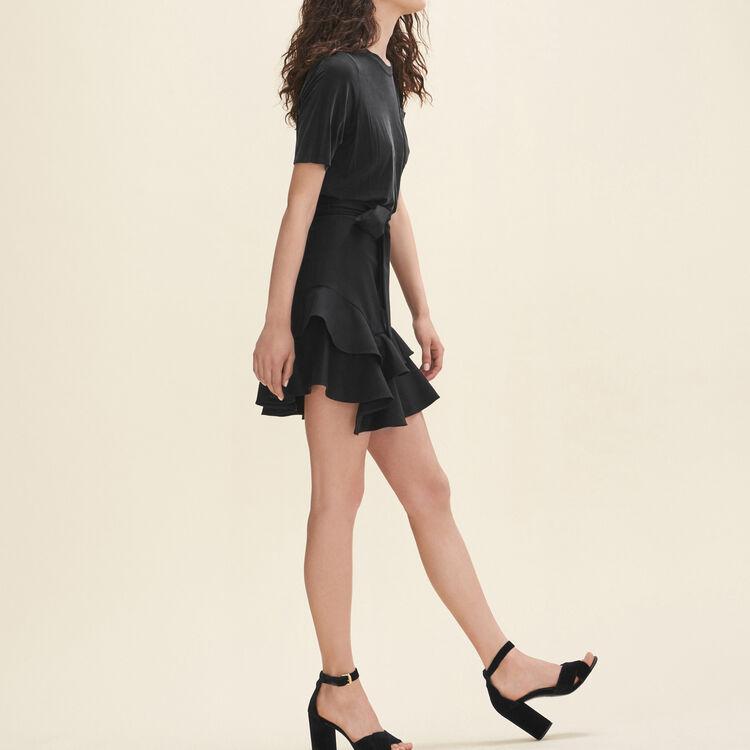 Falda corta con volantes : Faldas y shorts color Negro