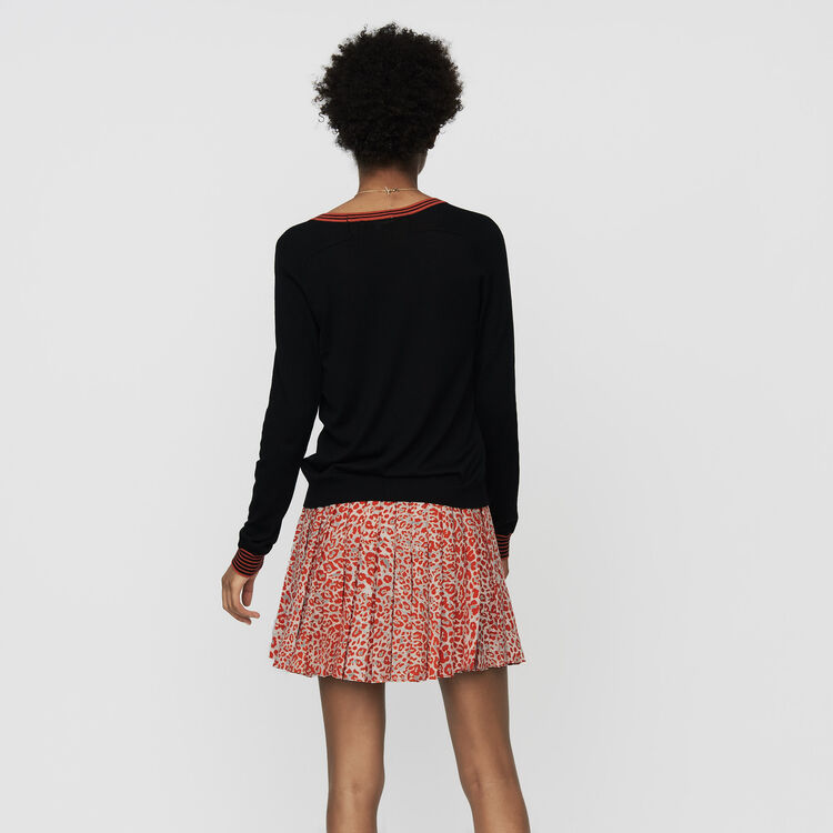 Cardigan fino de lana de merinos : Malla color Negro