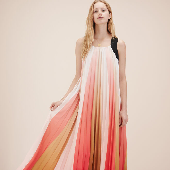 Vestido largo plisado multicolor -  - MAJE