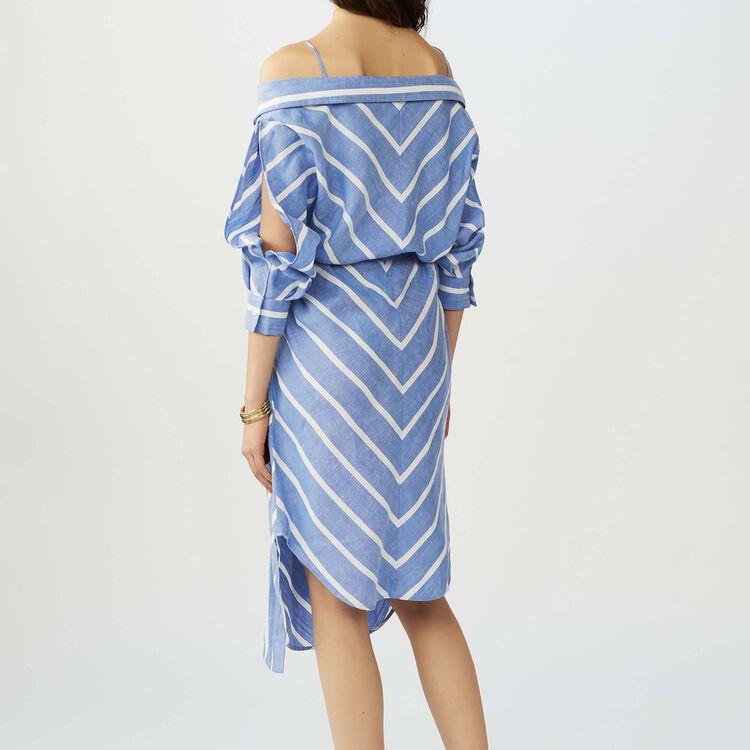 Vestido camisero rayado con hombros : Ver Todo color Azul
