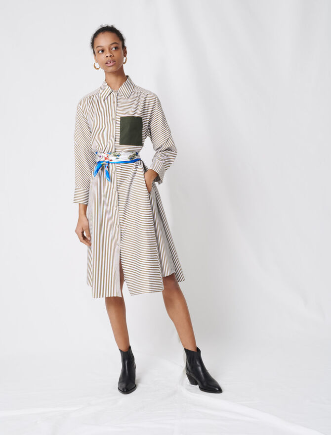 Vestido camisero raya cinturón contraste - Vestidos - MAJE