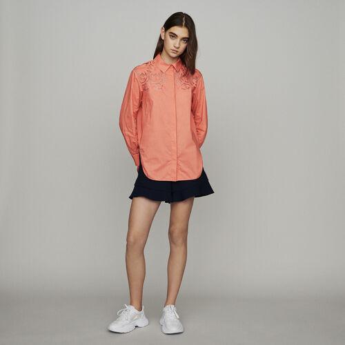 Blusa con guipur : Camisas color Coral