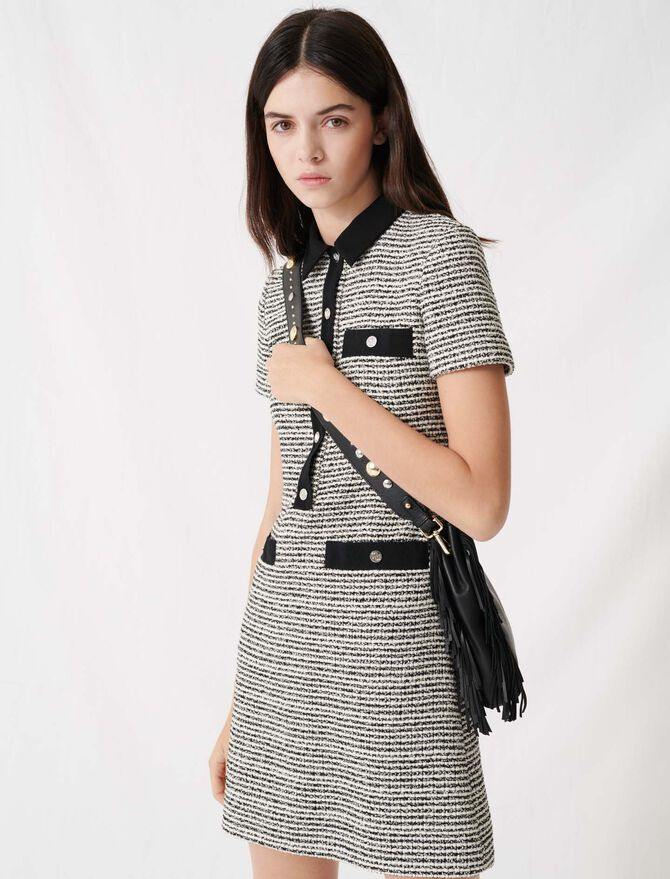 Vestido de tweed con cinturón - Vestidos - MAJE