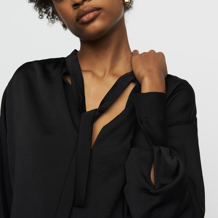 Blusa de crepé : Tops color Negro