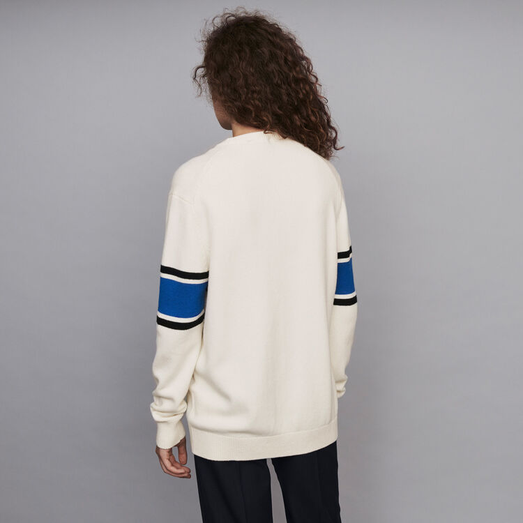 Jersey a contraste y lentejuelas : Jerseys y cárdigans color Crudo