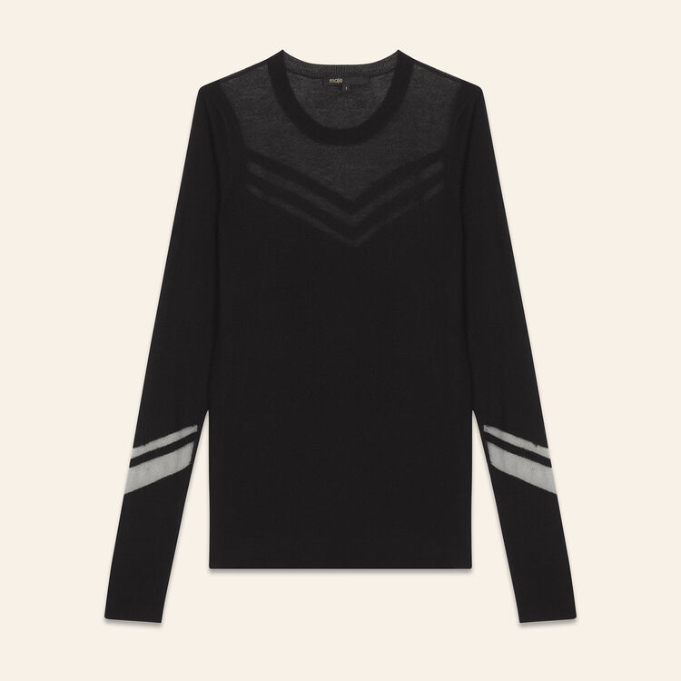 Thin jumper in a mix of materials : T-shirts color Negro