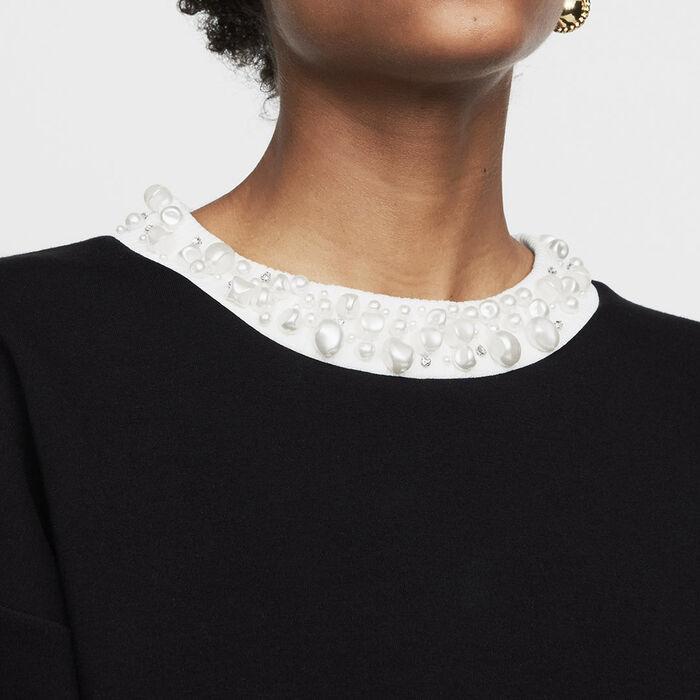 Sudadera de algodón con perlas : Prêt-à-porter color Negro