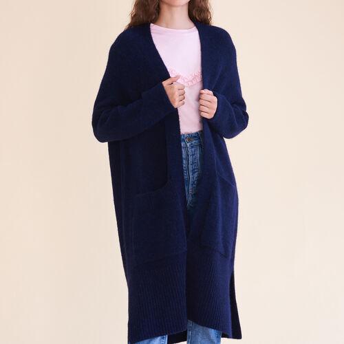 Cárdigan largo extragrande : Jerseys y cárdigans color Noche