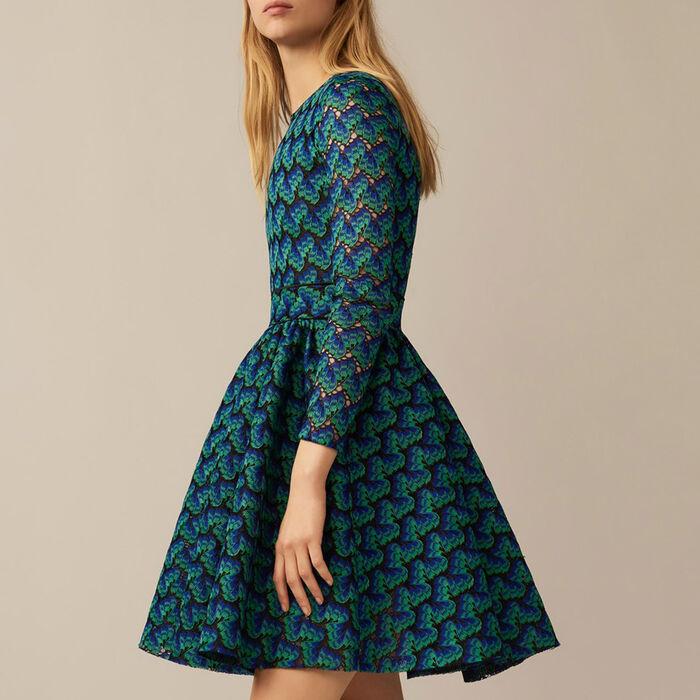 Vestido de encaje contracolado : Vestidos color