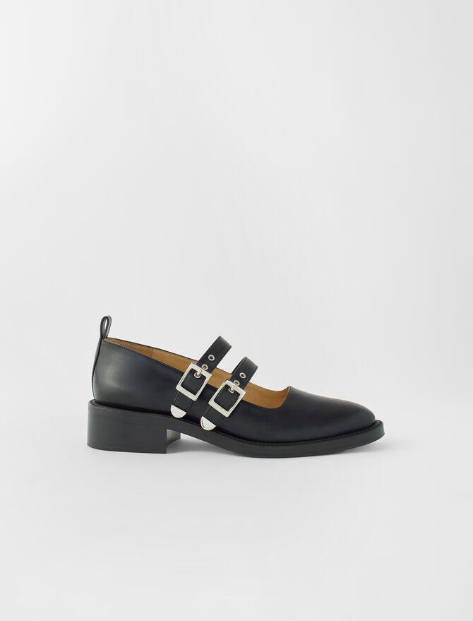 Merceditas de piel negra con tiras - Todos los zapatos - MAJE