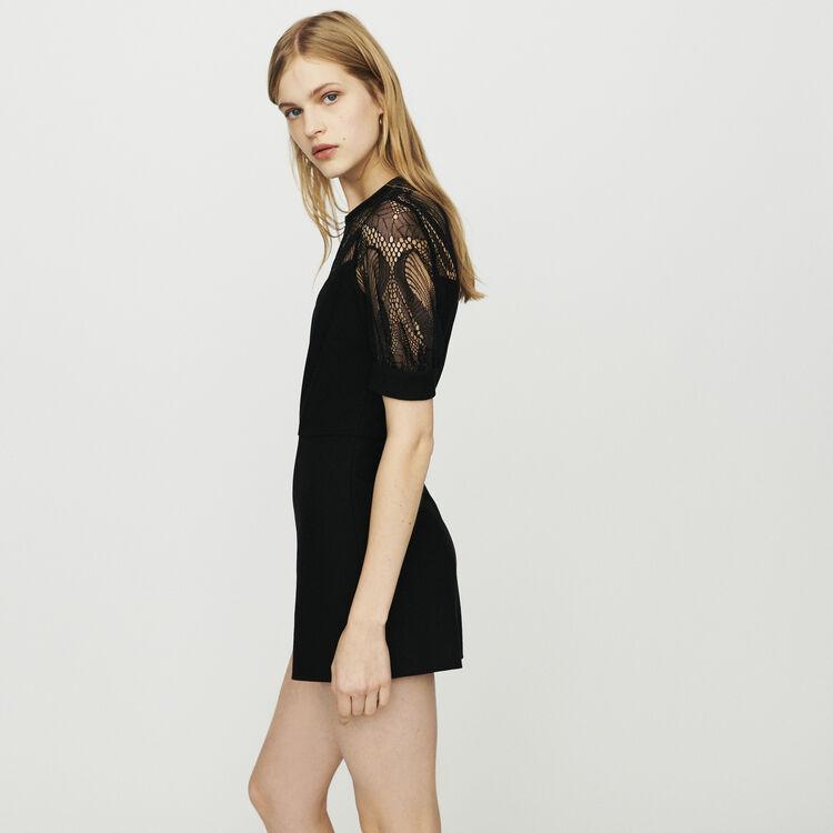Mono-short de crepé y encaje : Faldas y shorts color Negro