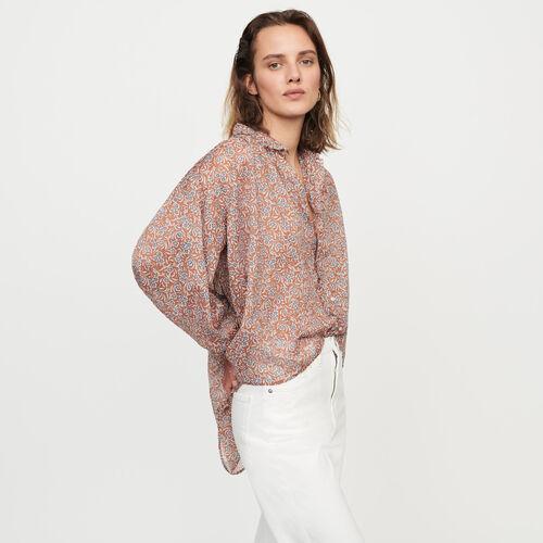 Blusa en velo en algodón estampado : Tops y Camisas color Terracota