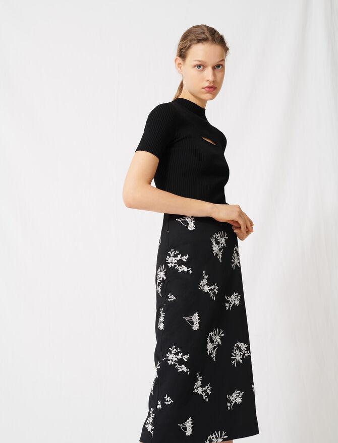 Falda midi de crepé bordada -  - MAJE