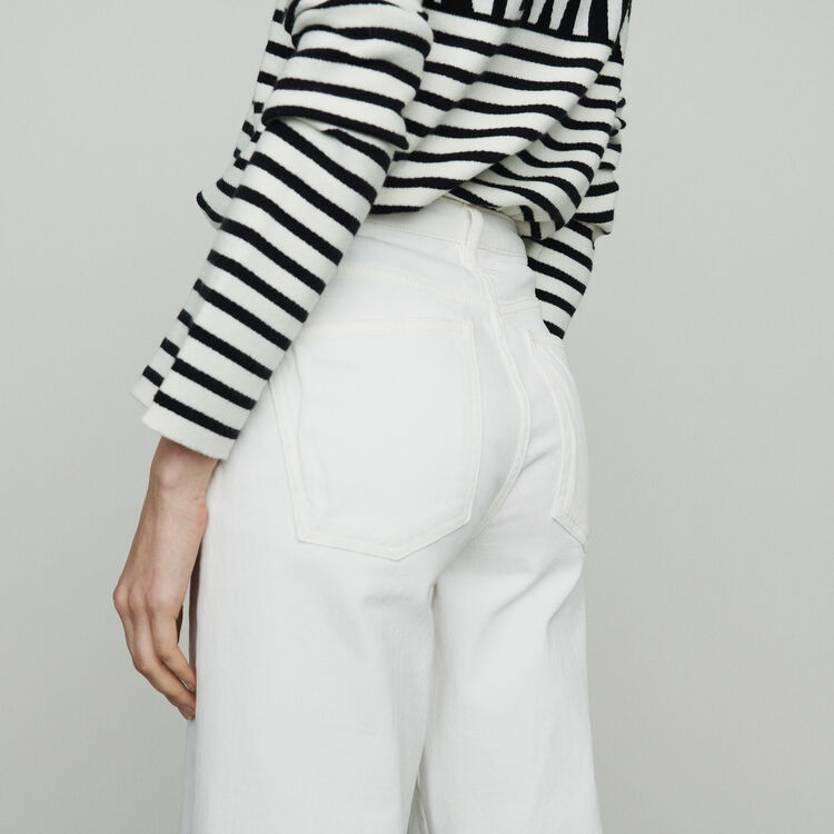 Jean ancho tiro alto : Pantalones y Jeans color Blanco