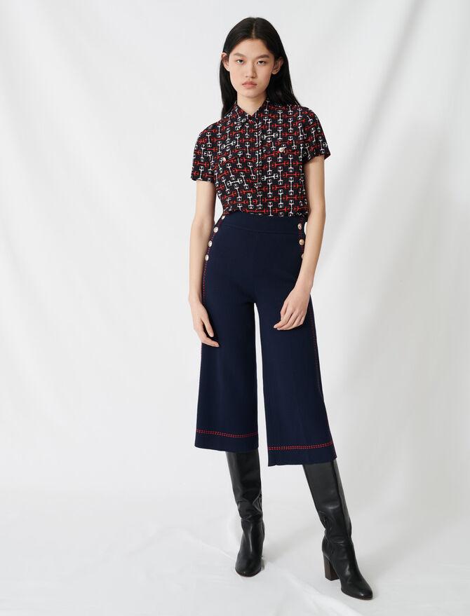 Pantalón acampanado pespunte contrastado - Pantalones y Jeans - MAJE