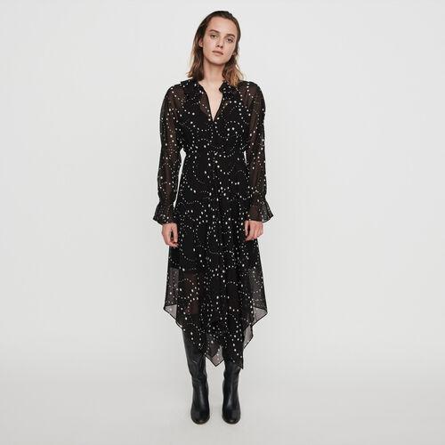 Vestido pañuelo estampado en muselina : Colección invierno color Negro
