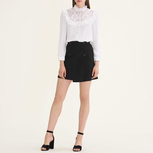 Falda con faldón : Faldas y shorts color Negro