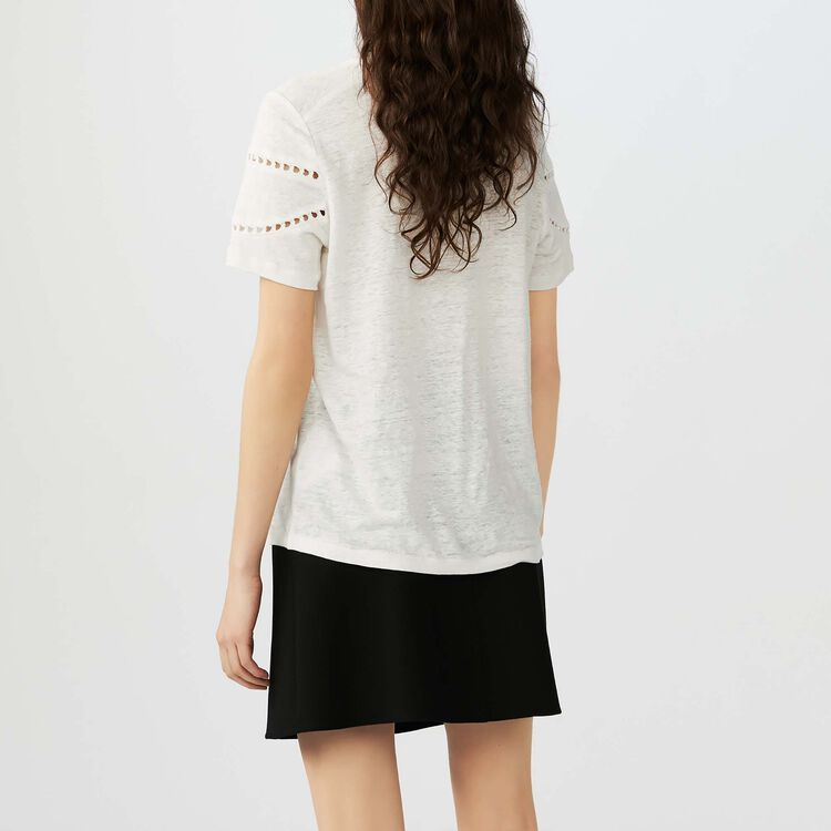 Camiseta de lino con bordados : T-Shirts color Crudo