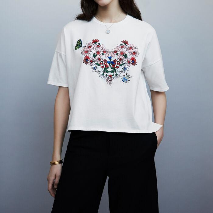 Camiseta de algodón con bordados : T-Shirts color Blanco