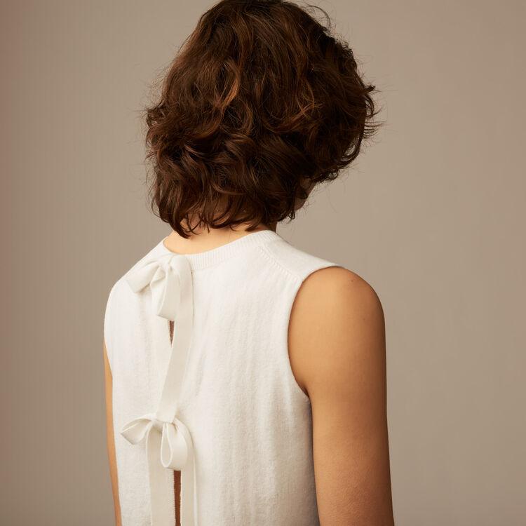 Jersey sin mangas con lazos : Malla color Crudo