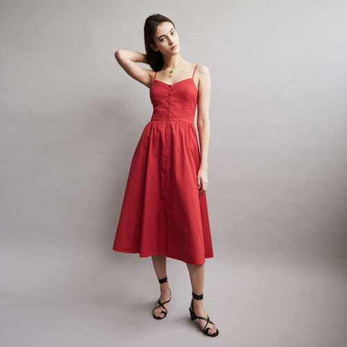Thin straps dress and crop top : Vestidos color ROUGE