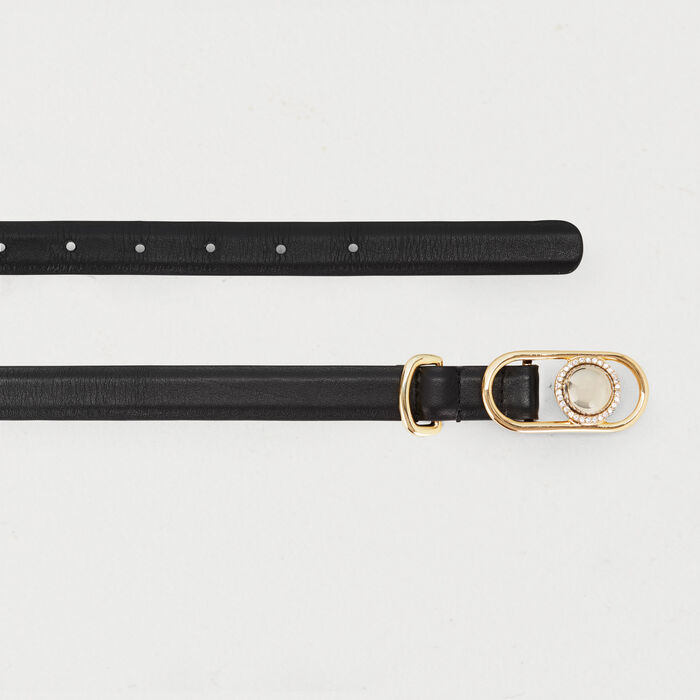 Cinturón pantalón porte mixto de cuero : Office girl color Negro
