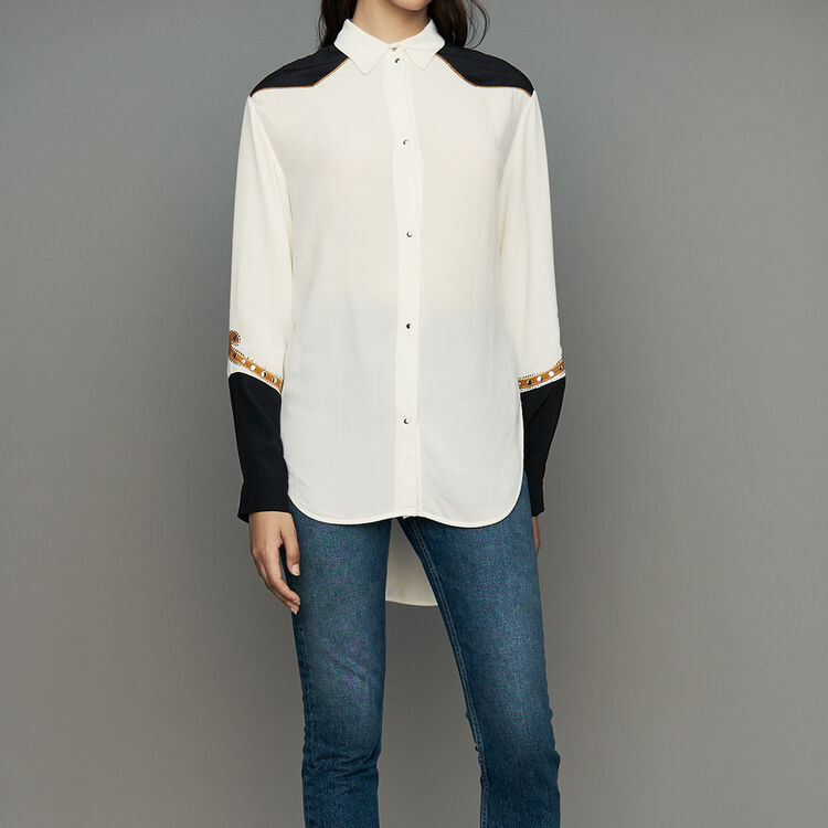 Camisa larga estilo vaquero : Camisas color ECRU