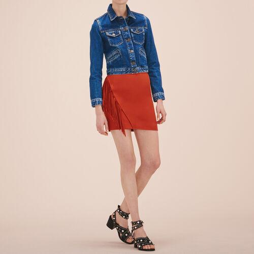 Falda corta con flecos : Faldas y shorts color Terracota