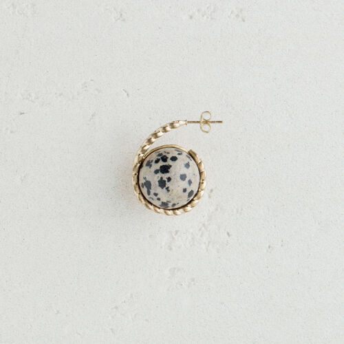 Pendiente izquierdo  en piedra natural : Bisuteria color Blanco Roto