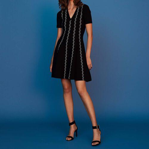 Vestido de punto de Jacquard : Vestidos color Negro