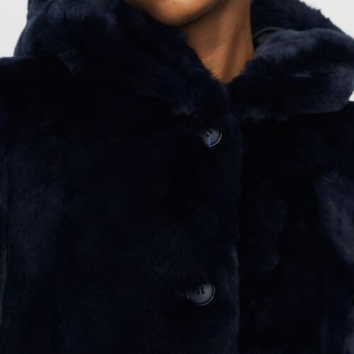 Abrigo corto con capucha de piel : Abrigos color Noche