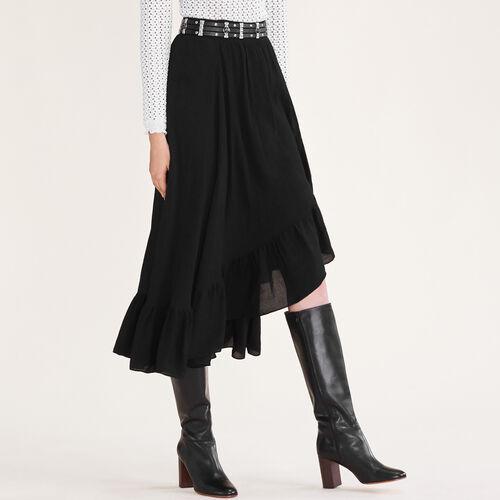 Falda asimétrica con volantes : Ver todo color Negro