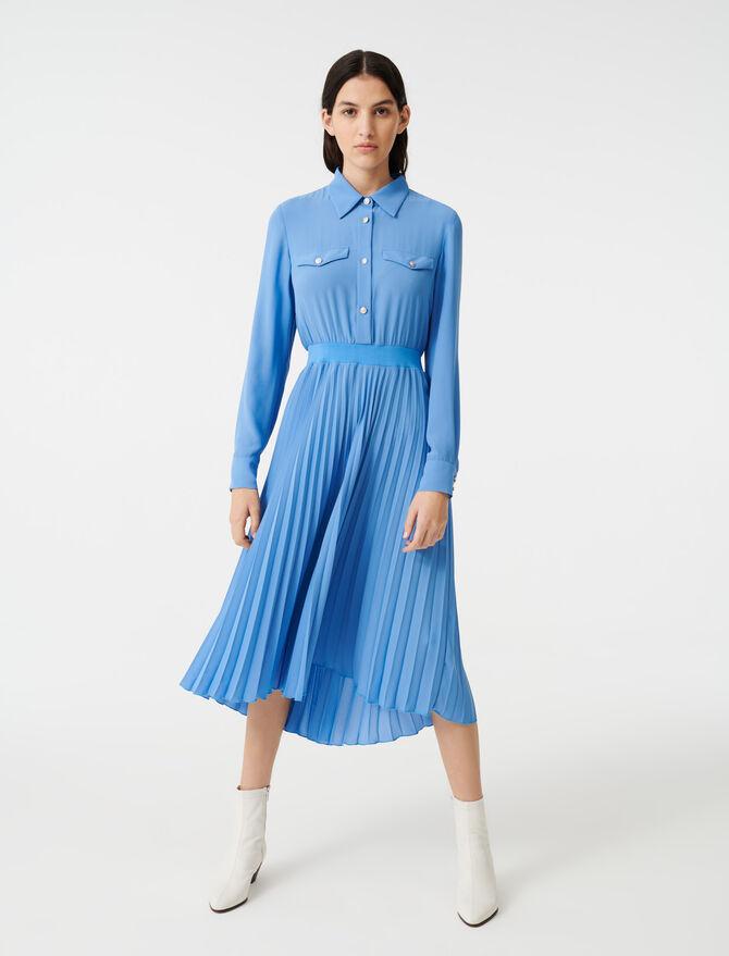 Vestido camisero con cintura fruncida - Vestidos - MAJE