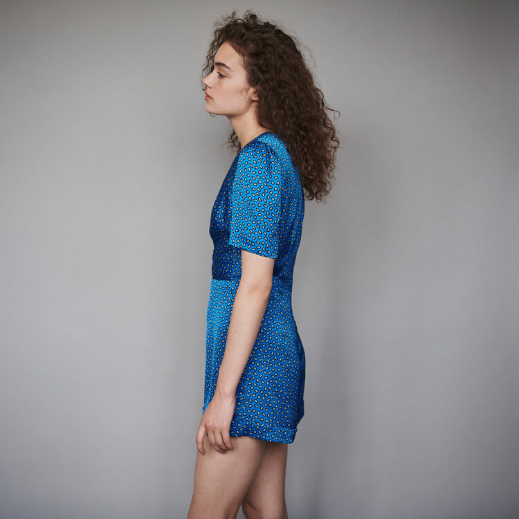 Mono short de raso estampado : Colección invierno color Azul