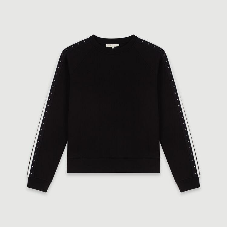 Sudadera bandas con contraste y clavos : Colección invierno color Negro