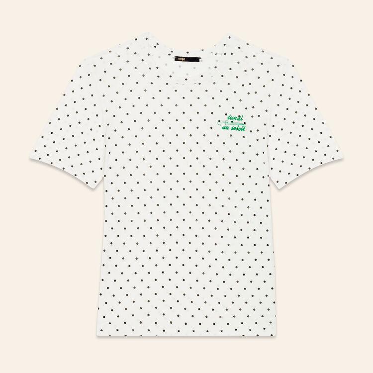 Camiseta bordada Lunes : T-shirts color Blanco