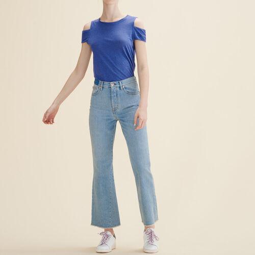 Camiseta de lino con hombro descubierto : Camisetas color Azul