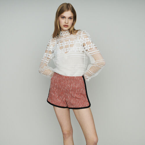 Short tipo tweed : Faldas y shorts color Rojo