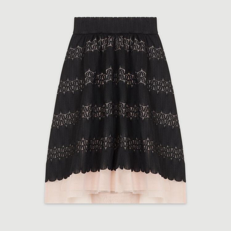 Falda midi en malla cesto y tul : Faldas y shorts color Negro