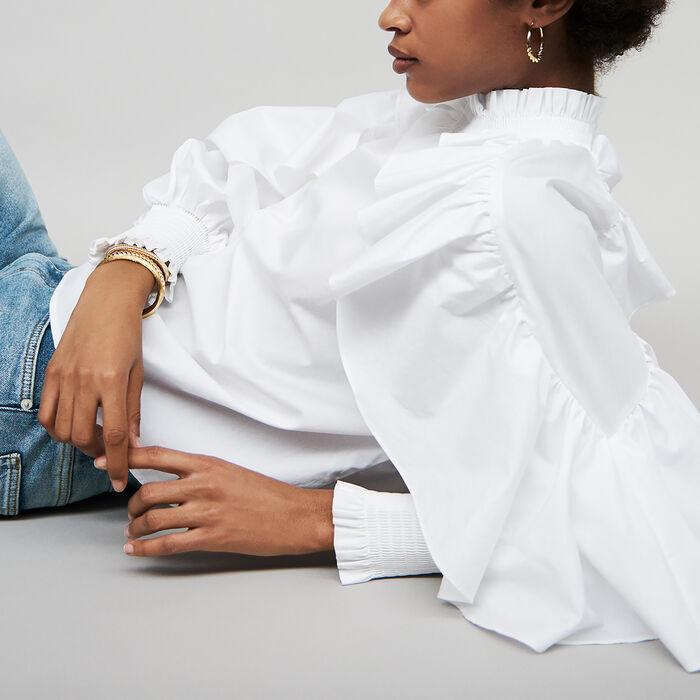 Blusa avolantada de popelina de algodón : Tops color Blanco