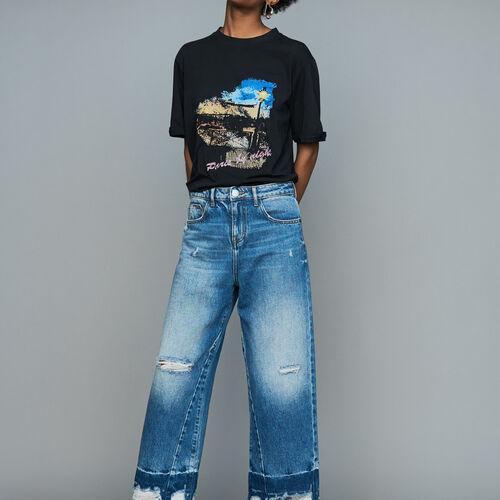Jean ancho con detalles de desgaste : Urban color Azul