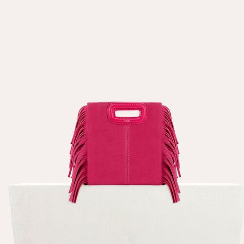 M minibolso de ante con flecos : Colección de verano color Rosa