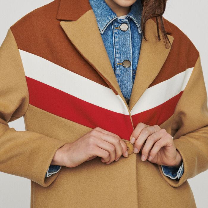 Abrigo oversize de lana virgen : Abrigos color Camel