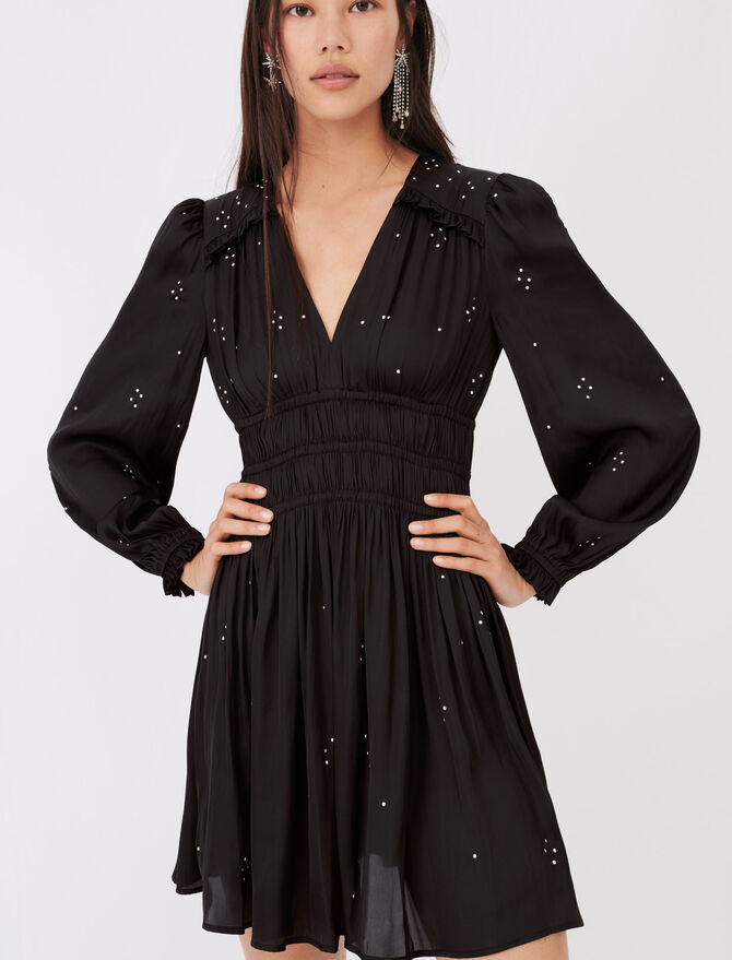 Vestido de raso con volantes - Vestidos - MAJE