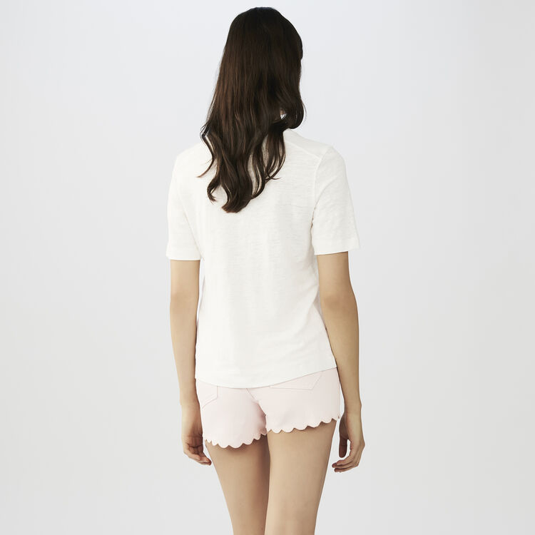 Camiseta de lino con bordados : staff private sale color ECRU