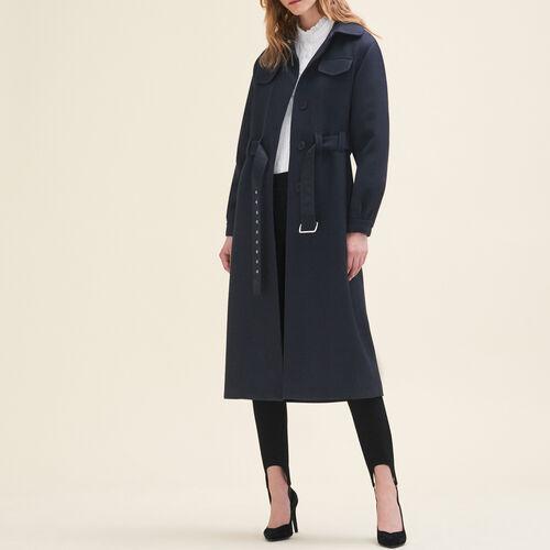 Abrigo largo de lana : Abrigos color Noche