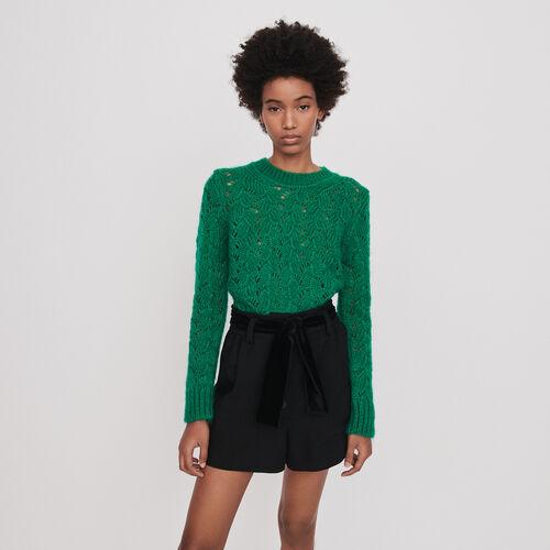 Short de terciopelo con cinturón : Faldas y shorts color Negro