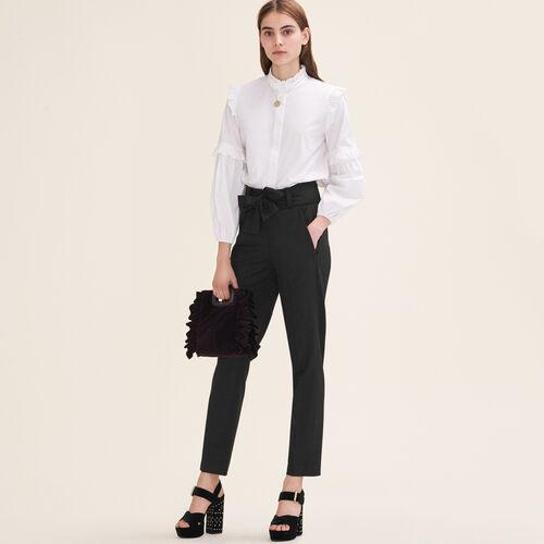 Pantalón de corte zanahoria con lazo : Ver todo color Negro